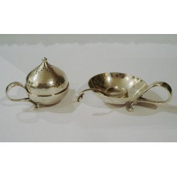 Georg Jensen Silver Pepper, Salt Dish & Spoon. Jensen mark for 1933-1944