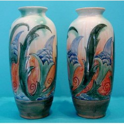 Pair of Royal Doulton by Frank Brangwyn vases. Marked to base - Royal Doulton Brangwyn Ware (c.1937)
