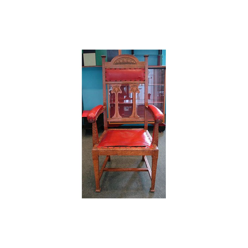 Oak Arts & Crafts hall chair. Original red leatherette cover (a/f). English. Circa 1900