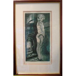 Max Brunning By The Fire Framed Picture (c.1920)
