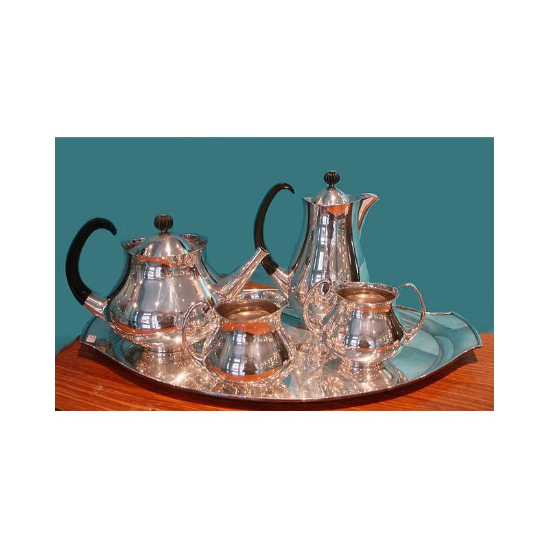 Eric Clements silver plated tea set and tray. Signed. English. Circa early 1960s