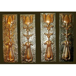 Set of two copper Arts & Crafts door plates. Circa 1900