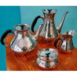 Einar Cohr silver plated four piece tea set. Danish. Circa 1960