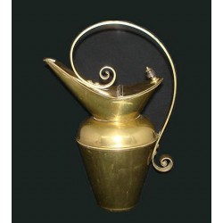 Christopher Dresser for Benham and Froud brass water jug with ebony knob. Rd no: 36696 (c.1880)