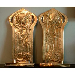 A Pair of Glasgow School Brass Maiden Wall Sconces. Attributed to Agnes Bankier Harvey (1873-1947). Stamped J.Co. (c.1910)