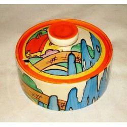 Clarice Cliff Orange Roof Cottage Preserve Pot. Circa 1930