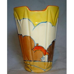 Clarice Cliff Fantasque Bizzarre Vase Orange Roof Geometric Vase. (c.1930)