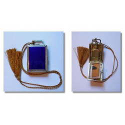 Art Deco silver and blue enamel continental compact and perfume holder. Circa 1925
