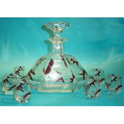 Bohemian Art Deco decanter and six glasses. (c.1930)