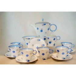 Shelley blue and silver polka dot bone china fifteen piece coffee set.  Regent Shape. Registered number 781613. Circa 1930