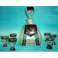 Bohemian Art Deco Decanter and Six Glasses (c.1930)
