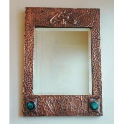 Antique Arts & Crafts copper mirror inset with Ruskin Roundels. Circa 1900.