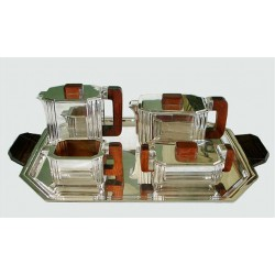 Art Deco Silver Plated Tea Set and Tray. French. Circa 1925