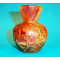 Antique Daum vase decorated with fuchsia flowers. Signed to base. (c.1900)