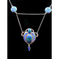 Antique Art Nouveau silver and enamel necklace. Hallmarked Birmingham 1909. Maker: S & C