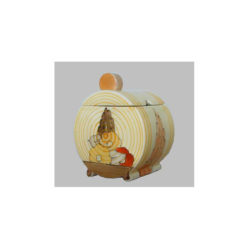 Clarice Cliff Bonjour Shaped Jam Pot And Cover Circa 1935