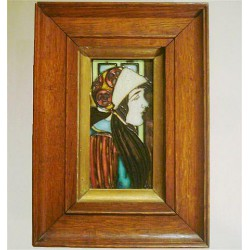 Charlotte & Frederick Rhead - T & R Boote Arts & Craft tile tube-lined tile in original oak frame. Circa 1905