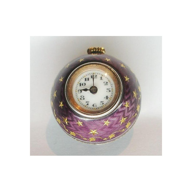 Rolex silver and enamel spherical ball fob watch.  Hallmarked for 1918