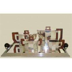 Art Deco French silver plated four piece tea set with mirrored tray. Circa 1930