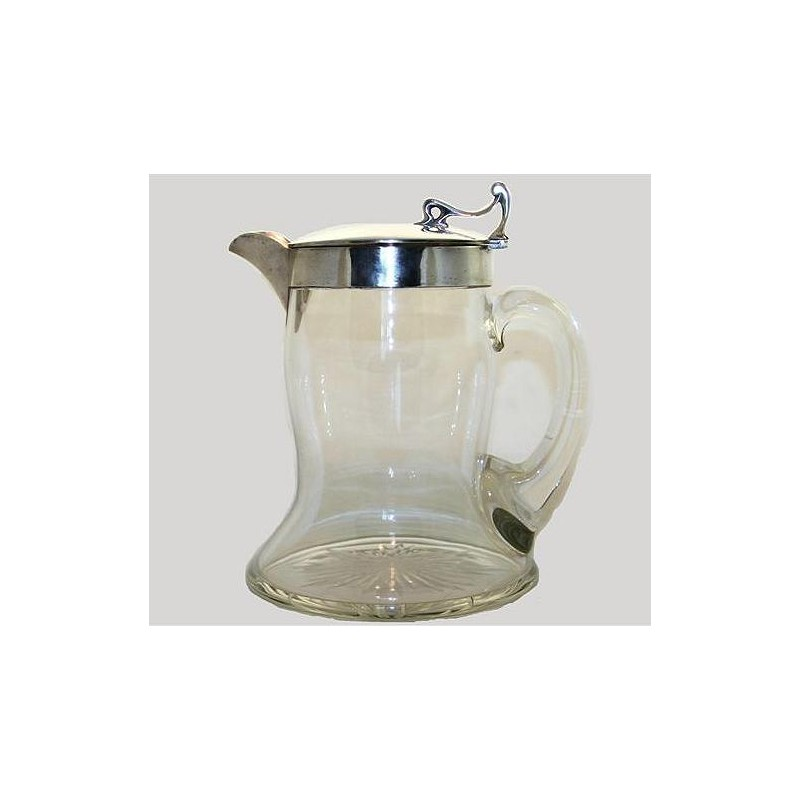 Arts & Crafts silver and glass water or lemonade jug. Hallmarked for Birmingham 1909 A.C.M.Co.
