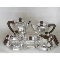 F.W. Quist Esslingen Germany six piece silver plated tea set. Stamped marks. Circa 1930