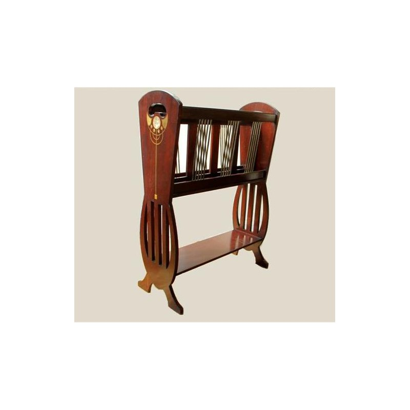 Art Nouveau Mahogany Magazine Rack with Fruitwood and Mother of Pearl Inlay. Circa 1900