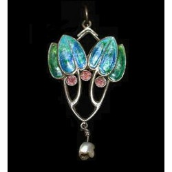William Hair Haseler silver and enamel pendant with natural baroque pearl drop. 1905