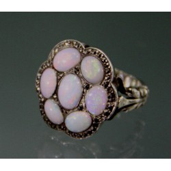 Silver, opal and marcasite ring. Marked 925. Circa 1920