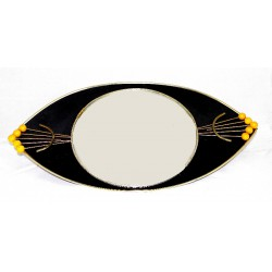 Mid Century atomic bakelite shield shaped convex mirror. Circa 1950