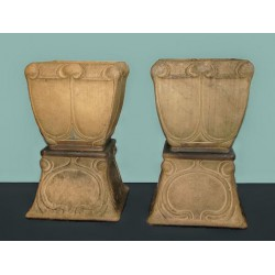 Pair of Francis Pope for Royal Doulton stoneware garden jardinaires on stands. Impressed marks to base. Circa 1900