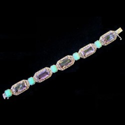 Theodor Fahrner Art Deco sterling silver amethyst, amazonite and marcasite bracelet.