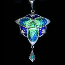 Silver and enamel Art Nouveau pendant. Makers mark for Smith & Ewen. Hallmarked Birmingham 1909