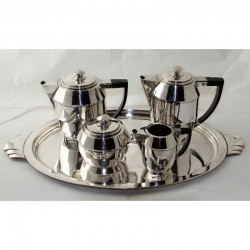 Argit French Art Deco Silver Plated Tea or Coffee Set with Tray (c.1930)