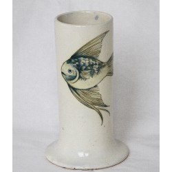 William Moorcroft fish pattern cylindrical lamp base. Impressed factory mark and blue signature. Circa 1935