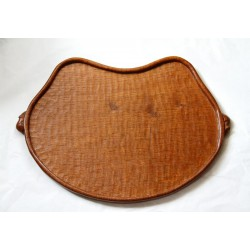"Robert ""Mouseman"" Thompson oak tea tray. Azded surfaces with deep rich oak colour (c.1950)"