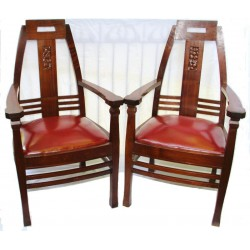 Peter Behrens pair of Jugendstil mahogany armchairs with leather seats. Circa 1910