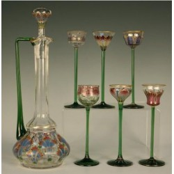 Theresienthal Art Nouveau decanter and six glasses. Enameled glass with foliate decoration. (c.1900)