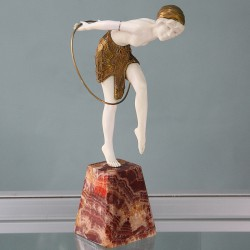 Demetre Chiparus bronze and ivory hoop dancer. Signed to base. Circa 1925