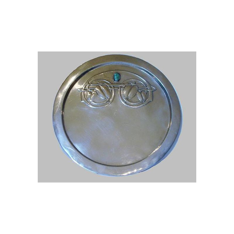 Arhibald Knox for Liberty & Co pewter tray with turquoise inset. Tudric 0163 (c.1903)