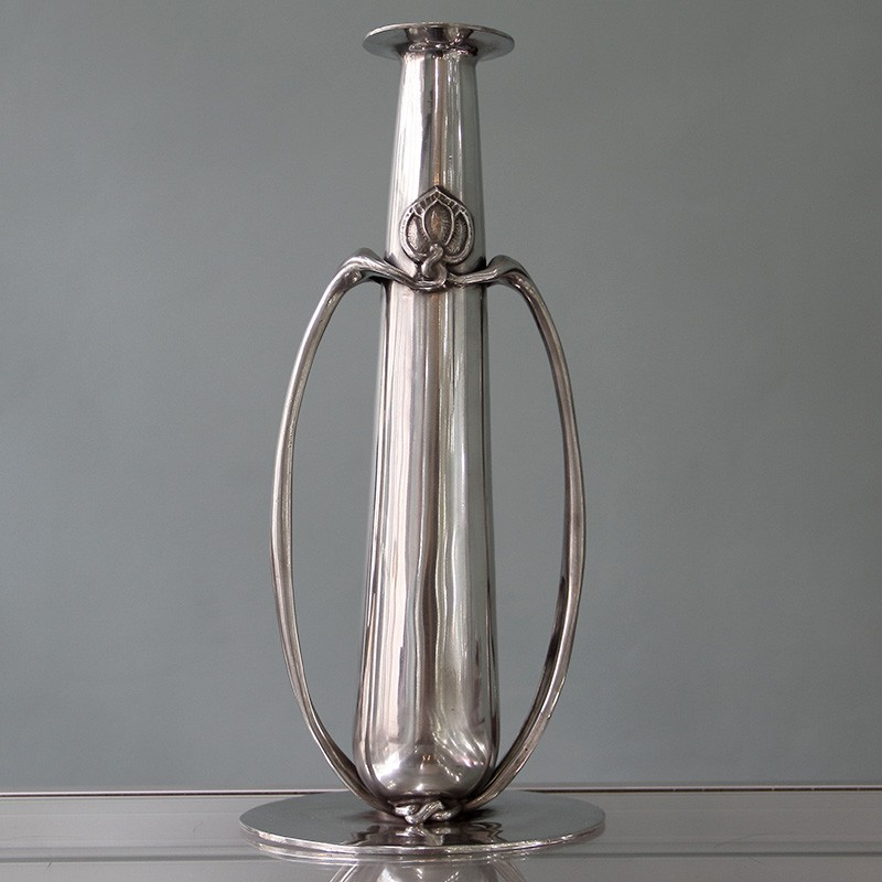 Archibald Knox for Liberty & Co Pewter Vase. Stamped marks Tudric 0212. Circa 1903