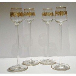 Four antique Art Nouveau German or Austrian Glasses. Circa 1900