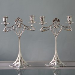 Pair of antique WMF silver plated candelabra. Stamped marks. Circa 1900