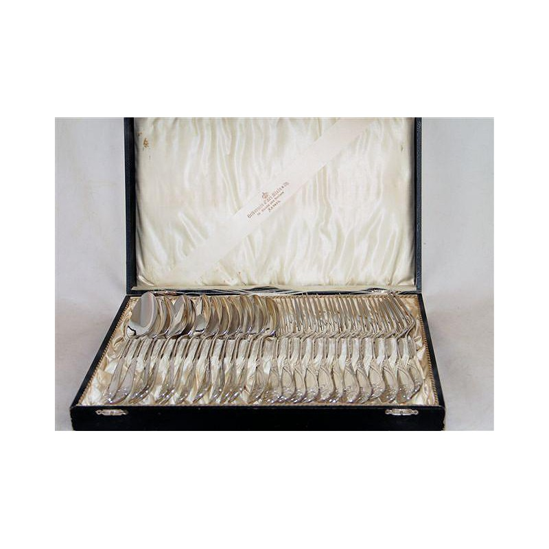 Antique silver plated 24 piece WMF flatware with ivy leaf pattern in original box (c.1900)