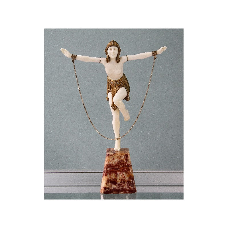 Demetre Chiparus bronze and ivory chain dancer. Signed to base. Circa 1925