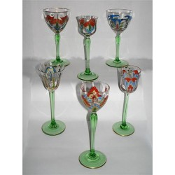 Theresienthal six Art Nouveau glasses. Enameled glass with foliage decoration. (c.1900)
