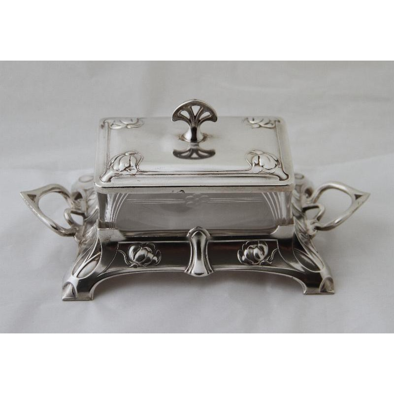 Antique silver plated butter dish by WMF with original crystal glass liner. Circa 1900