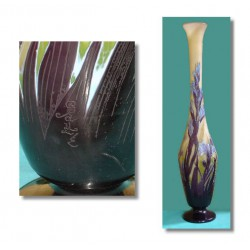 Genuine antique Galle large glass cameo vase overlaid with irises. Etched mark 'Galle'. (c.1900)
