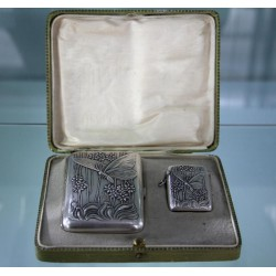 Silver Art Nouveau cigarette case and vesta with original gilding and decoration to both sides (c.1900)