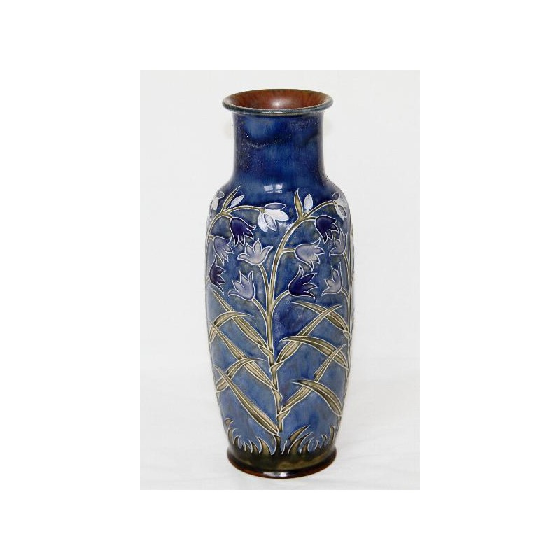 Harry Simeon for Royal Doulton antique stoneware vase in shades of blue and green (c.1905)