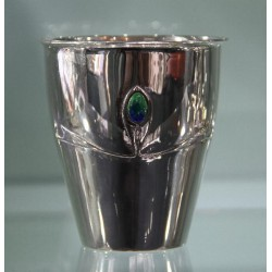 Archibald Knox for Liberty & Co Cymric silver vase with entrelac design and three blue green enamels (c.1902)